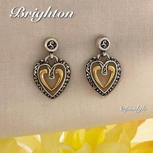 Brighton Earrings Two Tone Silver Gold Hearts Drop Dangle